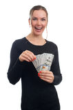 Young business woman holding money. Isolated on white Stock Photo