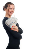Young business woman holding money. Isolated on white Royalty Free Stock Images
