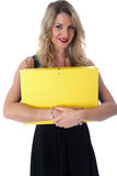 Young Business Woman Holding an Office File Stock Photo
