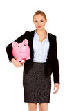 Young business woman holding  piggybank Stock Image