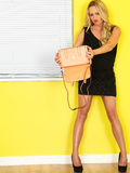 Young Business Woman Holding a Pink Handbag Stock Images