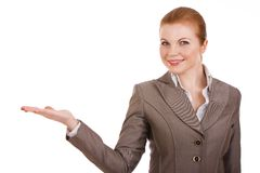 Young business woman holding something. Portrait of a young business woman holding something in hand Royalty Free Stock Photos