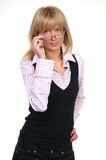 A young business woman is holding stylish glasses Stock Images
