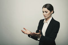 Young business woman holding two hand isolated Stock Photo