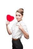 Young business woman holding Valentine Stock Photos