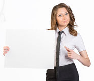 Young business woman holding white blank poster Stock Photo
