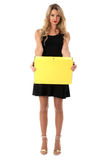 Young Business Woman Holding Yellow Office Box File Royalty Free Stock Images