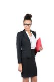 Young business woman holds folder Stock Photo