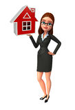 Young Business Woman with home sign Royalty Free Stock Photography