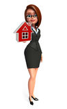 Young Business Woman with home sign Royalty Free Stock Images