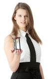 Young business woman with hourglass Stock Photography