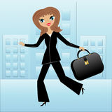 Young business woman hurry on work. Vector illustration royalty free illustration