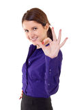 Young business woman indicating ok sign Stock Photography