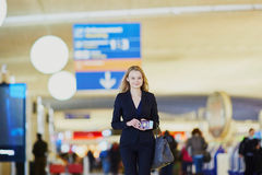 Young business woman in international airport Royalty Free Stock Images