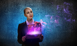Young business woman with ipad Stock Images