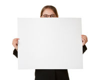 Young business woman isolated with sign card Royalty Free Stock Photos