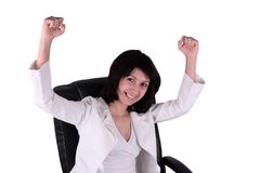 Young business woman in joy Royalty Free Stock Photos