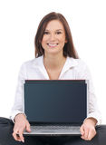 A young business woman with a laptop Stock Photos