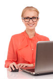 Young business woman with laptop Stock Images