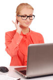 Young business woman with laptop Stock Image