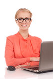 Young business woman with laptop Stock Photo