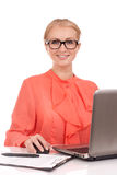 Young business woman with laptop Royalty Free Stock Photos