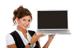 Young business woman with a laptop Royalty Free Stock Images