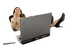 Young business woman on a laptop Stock Photos