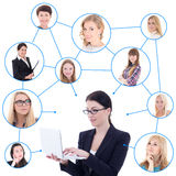 Young business woman with laptop and her social network isolated Royalty Free Stock Photos