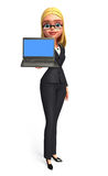 Young Business Woman with laptop Royalty Free Stock Images