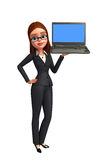 Young Business Woman with laptop Royalty Free Stock Photo