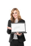 Young business woman with laptop, isolated on white background Stock Photos