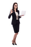 Young business woman with laptop showing ok sign isolated on whi Royalty Free Stock Photos