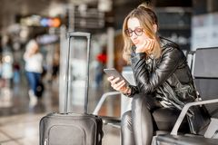 Woman at the airport Royalty Free Stock Photography