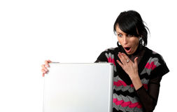 Young business woman looking at the suitcase Royalty Free Stock Photography