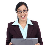 Young business woman looking at touch pad PC Stock Images