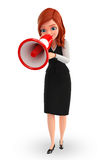 Young Business Woman with loudspeaker Royalty Free Stock Photography