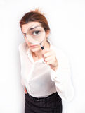 Young business woman. With magnifying Stock Photography