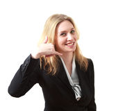 Young Business Woman Making a Call Me Sign Stock Photos