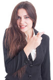Young business woman making good luck gesture by crossing finger Stock Images