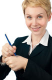 Young business woman making reminder Royalty Free Stock Photo