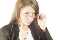 Young business woman making sign Stock Images