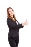Young business woman making thumbs up Royalty Free Stock Photography