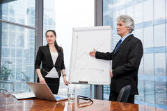 Young business woman and mature business man making a presentati Stock Photos