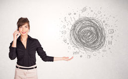 Young business woman with media doodle scribble Stock Photo