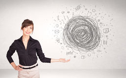 Young business woman with media doodle scribble Stock Photography