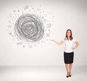 Young business woman with media doodle scribble. Concept stock photos