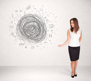 Young business woman with media doodle scribble Royalty Free Stock Images