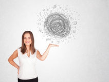Young business woman with media doodle scribble Stock Images