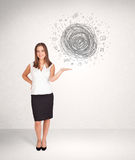 Young business woman with media doodle scribble Stock Image